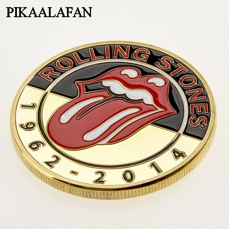 PIKAALAFAN Rolling Stones Band pièces commémoratives en argent plaqué groupe de Rock Fans de musique collectent des pièces étrangères