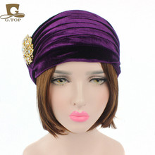New Luxury Woman Velvet Turban Twist Pleated Hair Wrap Beanie Hat with Gold Jewelry Brooch Hijab Turbante