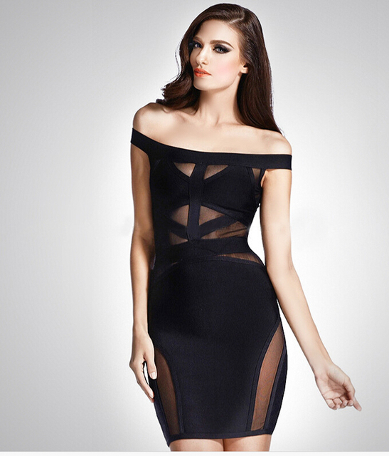 Elegant Party Alluring Sexy Clothes Summer Style Slash Neck Bodycon Dress  Free Shipping c380f76fe
