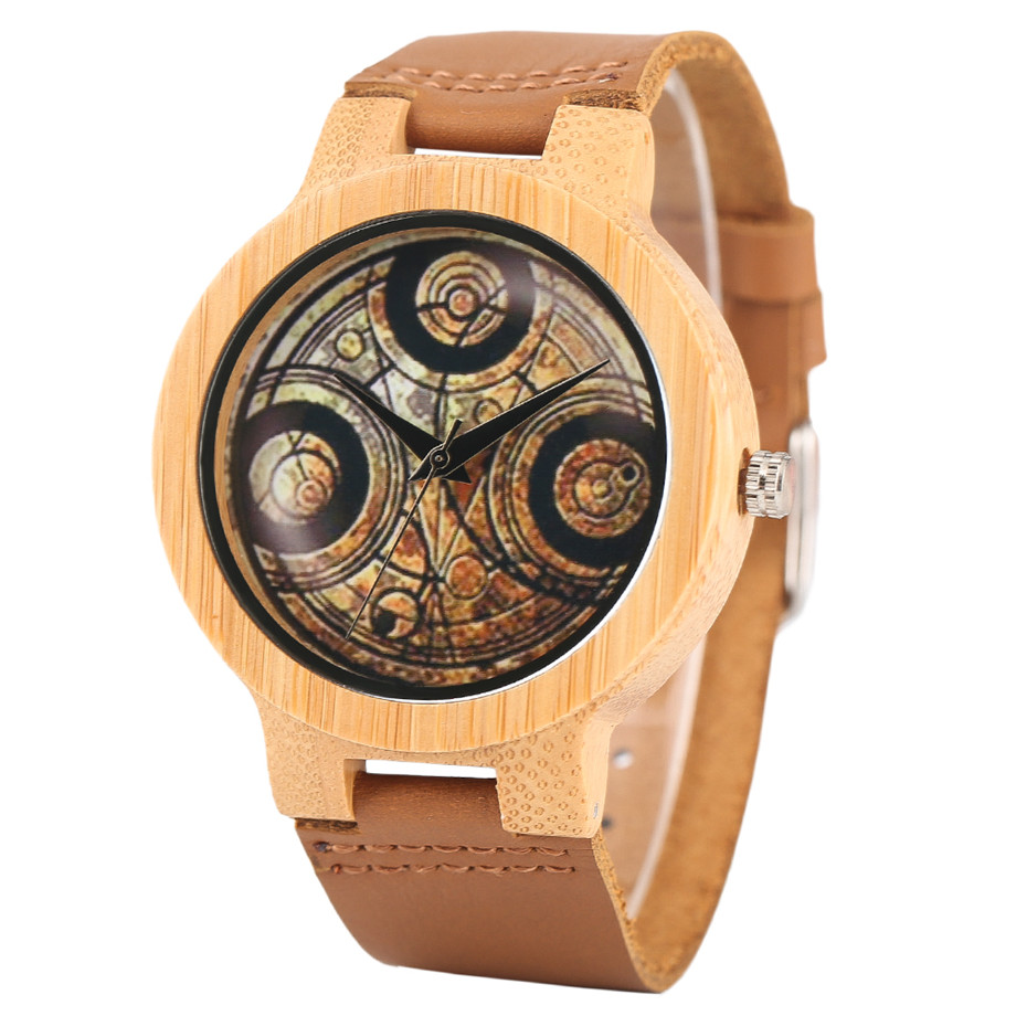 Casual Wooden Watch Dr. Who Ancient Magic Circle Dial Simple Men Women Sport Bamboo Wristwatch TV Fans Clock relogio masculino (2)