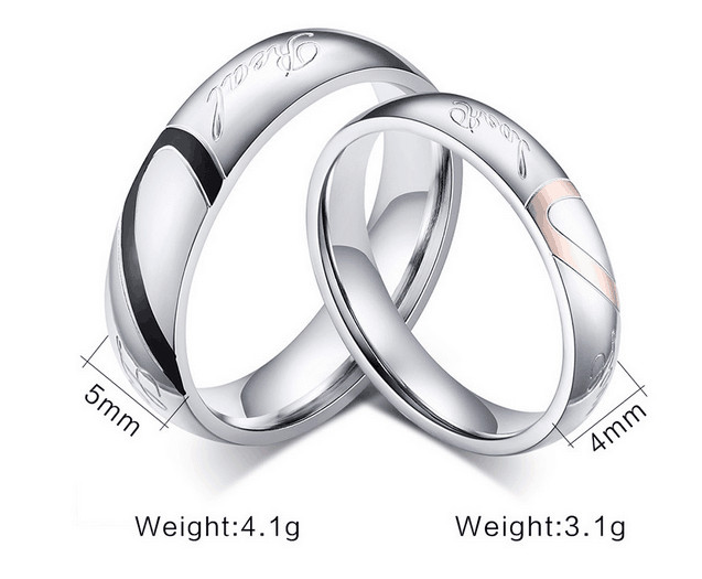 Valentines day gift 1 piece Lovers Heart Titanium Steel ring Love Promise Ring Couple Wedding Bands Engagement Rings lover