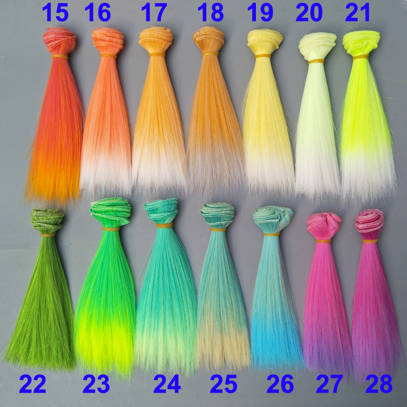 Wholesales Doll Hair 15cm 25cm Pink Yellow Green Blue Gradient Color Straight Russian Handmade DIY Doll Wigs