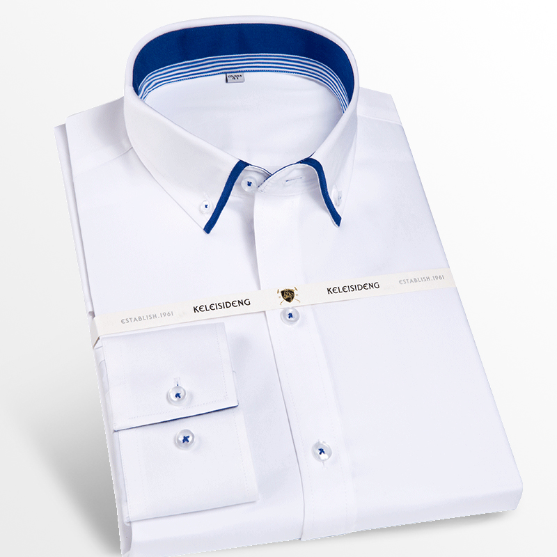 Men's Casual Double Collar Inner Contrast Button-down Shirts Comfortable 100% Cotton Long Sleeve Standard-fit Dress Shirt
