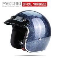 Capacete da motocicleta de fibra vidro do vintage jet retro abrir rosto capacete moto motocross scooter capacete casco segurança floco