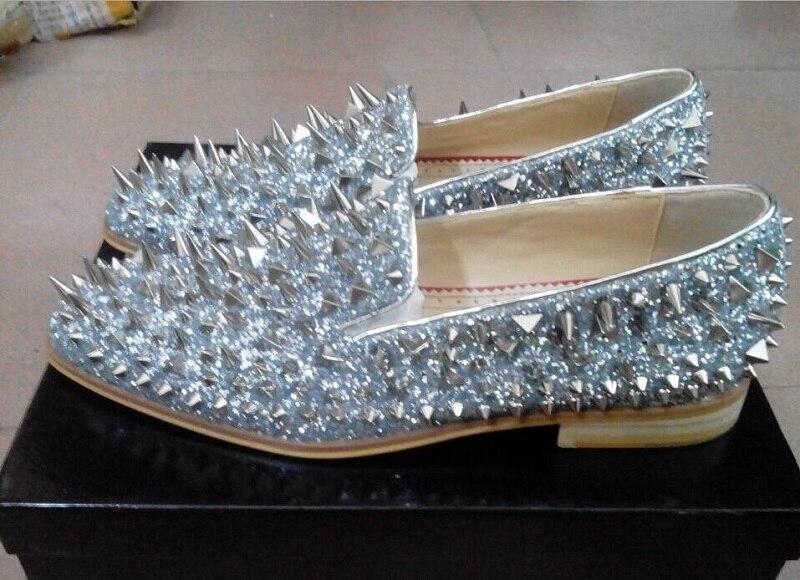Loafers Sapatos Claro Spike Preto Glitter Qianruiti prata Prata Slip azul vermelho eu46 verde De Homens Shoes Ouro Eu39 on ouro Casamento Gold Dourado Dandelion Top Flats Para Preto tqqxPRw0p