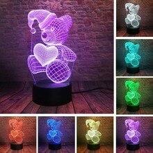 3D LED Hologram – Nočné svetlo – Sleeping Teddy Bear Hold Love Heart