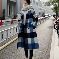 High Grade Women Wool Coat Female Autumn Winter Long Plaid Woolen Overcoat 2018 New Arrivals