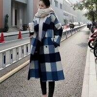 High Grade Women Wool Coat Female Autumn Winter Long Plaid Woolen Overcoat 2018 New Arrivals