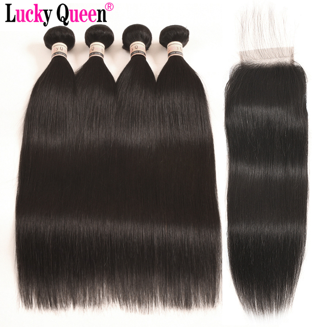 Lucky Queen Brazilian Hair Weave Bundles With Closure 4pcs Straight With Closure Non Remy Human Hair Bundles With Lace Closure