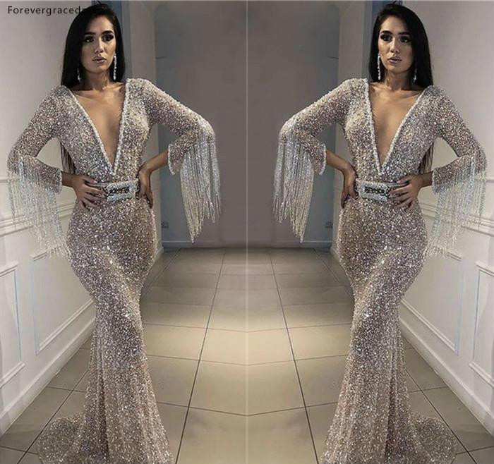 2019 Silver Sequins   Prom     Dress   Plunging V Neck Long Sleeves Pageant Holidays Graduation Wear Evening Party Gown Plus Size