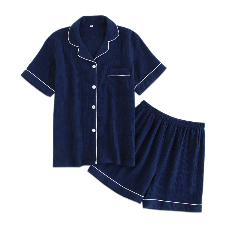 Navy blue 100% cotton crape shorts   pajamas     sets   women summer Japanese simple pijamas mujer pyjamas women casual sleepwear