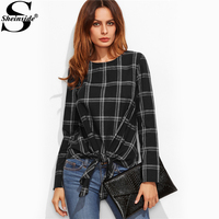 Sheinside Knot Front Self Tie Bow Plaid Grid Blouse 2017 Black Round Neck Long Sleeve Tunic