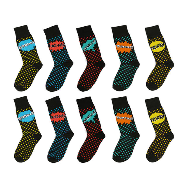 PEONFLY Winter New Fashion Cute Wave Point Cotton Men Sock Funny Week Date Monday-Friday Novelty Letter Breathable Hip-hop Socks