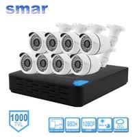 Smar 8CH Home Security Surveillance Kits 960H CCTV DVR HDMI 8PCS 1000TVL IR CUT Filter Weatherproof