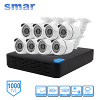 Smar 8CH Home Security Surveillance Kits 960H CCTV DVR HDMI 8PCS 1000TVL IR CUT Filter Weatherproof