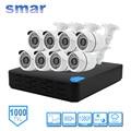 Smar kits de vigilancia seguridad para el hogar 8ch 960 h cctv dvr hdmi 8 unids 1000tvl ir-cut filtro exterior resistente a la intemperie sistema de cámara de metal