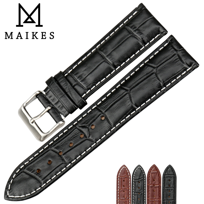 MAIKES New Watch Accessories Genuine Leather Watch strap 18-24mm Watchband Stainless Steel Buckle Watch Band Men For TISSOT maikes new product durable genuine leather watch band 19mm 20mm 22mm black casual watch strap stainless steel buckle for tissot