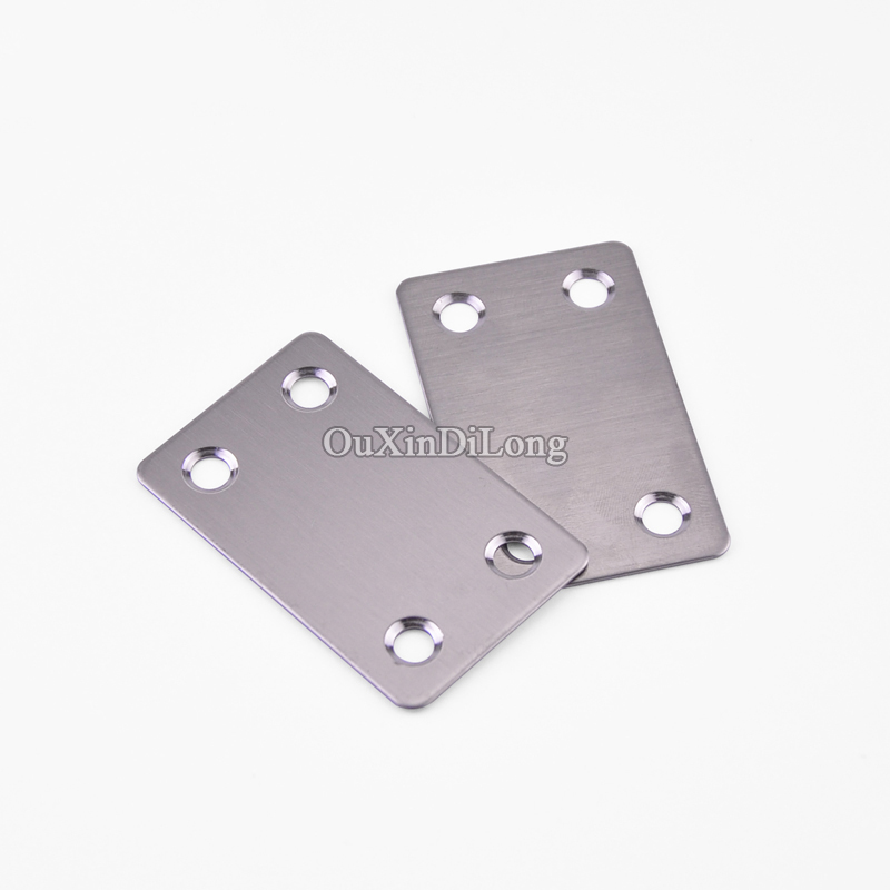 HOT 200PCS Stainless Steel Flat Corner Brace Plate Angle Shelf Bracket Connector Furniture Repair Fixing Joining Accessories 35cm aa shelf rails stainless steel support slot plate glass wooden board partition bracket holder shelf accessories