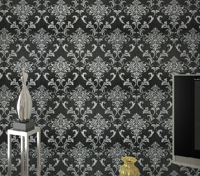 PVC Glitter Black/silver Damask Wallpaper Background Wall