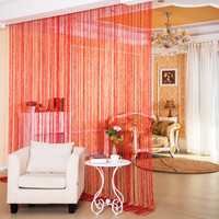 Red Blue Grey Plum Orange Black Coffee White Solid Color String Thread Curtains For Bedroom Living