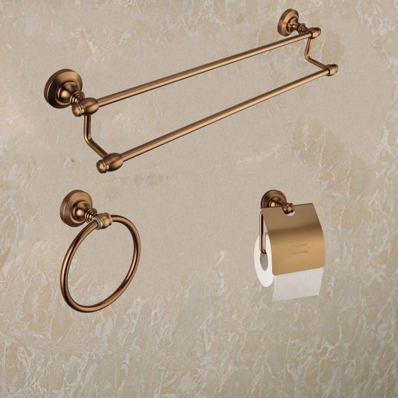 kit banheiro metal real roller shower toilet accessories set luxury antique bathroom double towel rack ring