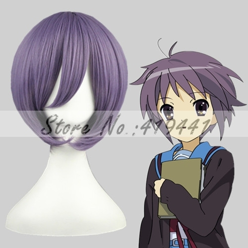 Free Shipping 35cm Short Suzumiya Haruhi no Yuuutu -Nagato Yuki Violet Synthetic anime cosplay Hair wig