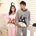 2016 NEW Winter Totoro Mr Minion Couple Pajama Sets Adult Pyjamas For Women/Men/Female Flannel Pajamas Animal Warm Sleepwear