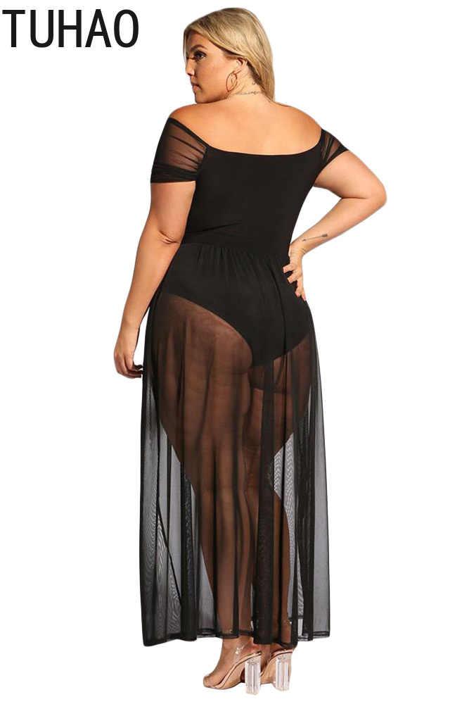 TUHAO женский комбинезон платья плюс размер 3XL 2XL открытое летнее платье сексуальные Клубные платья черное элегантное пляжное длинное платье DLM