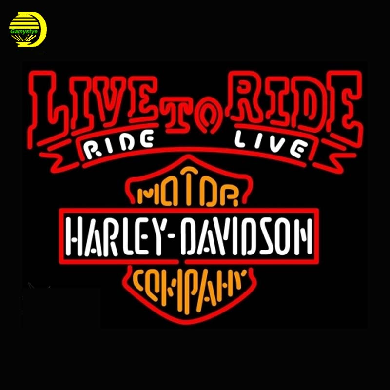 Harley Davidsonn Live To Ride Neon Sign Motor Neon Bulb Publicidad Handcrafted Light Glass Tube Affiche