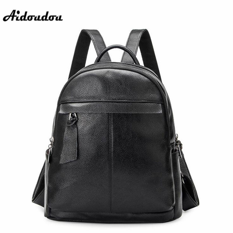 AIDOUDOU High Quality Leather Women Backpacks Preppy Style School Backpack For College Black Women Bags Shoulder Travel Bag