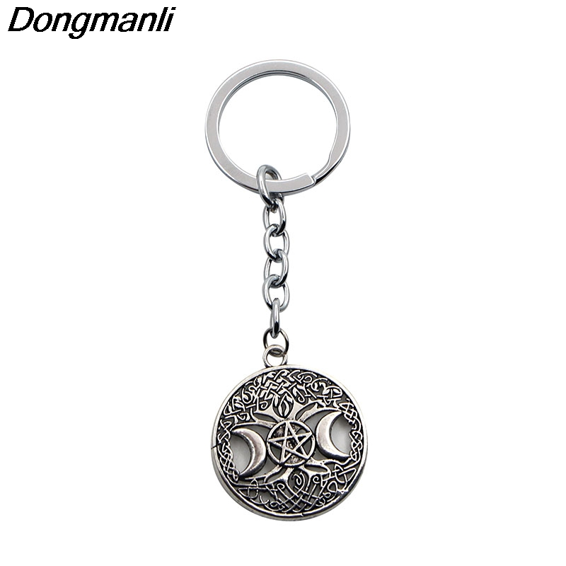 P2207 Dongmanli Norse Vikings Pendant car keychain Celtic knot Pentagram Pentacle Star Moon Wicca keys ring new luxury classical antique bronze push down pop up drainer waste without overflow