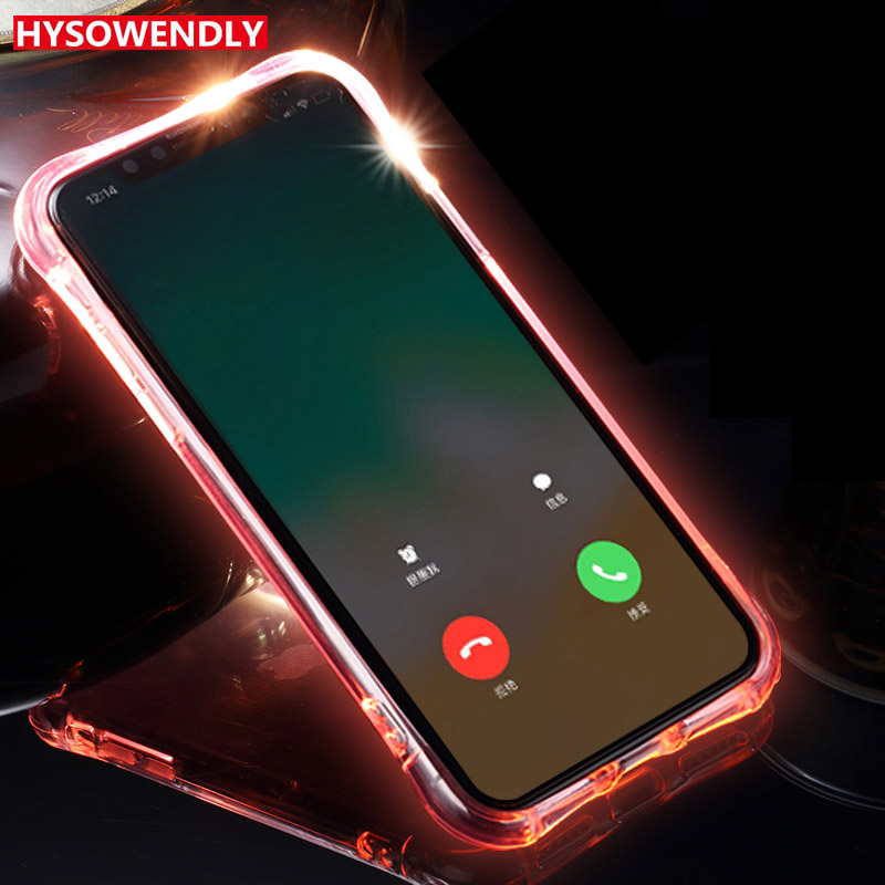 For Vivo Nex Incoming Call Lum Selfie Light Transparent TPU LED Flash  Silicone Phone Cover Case For Vivo X21 X21UD X21i Capinhas