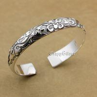 999 Sterling Silver Flower Charm Biker Rokcer Punk Bracelet Bangle 9A014