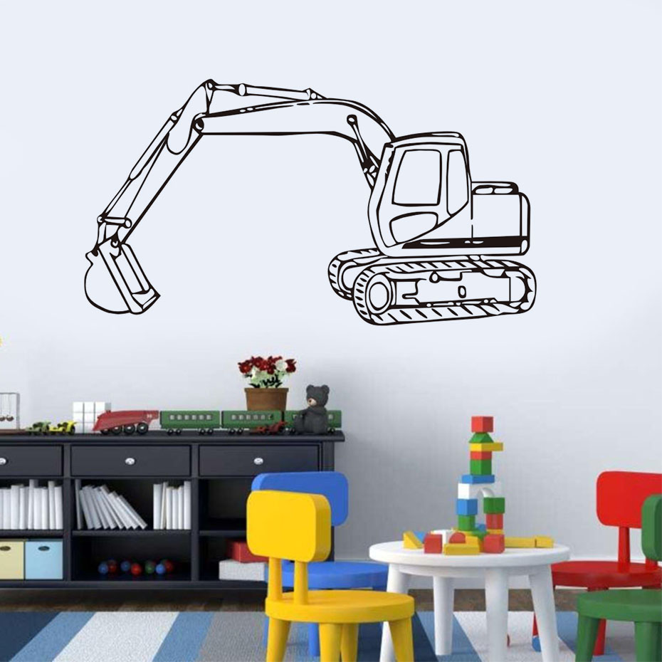 Tractor excavator and digger wall stickers sketch design pvc tractor excavator and digger wall stickers sketch design pvc removable vinyl wall decals nursery decoration home decor in wall stickers from home garden amipublicfo Gallery
