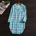 Women's Long nightgowns sleepwear nightdress 100% cotton simple long sleeves homewear plaid flannelette pyjama sleepshirts