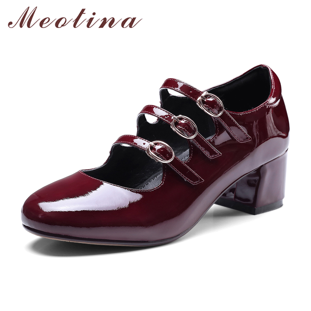 Meotina Genuine Leather Shoes Women Mary Janes Pumps Thick High Heels Spring Brand Design Natural Real Leather Luxury Shoes 2018 new spring fashion brand genuine leather sweet classic high heels women pumps shallow thick heel mary janes lady causal shoes