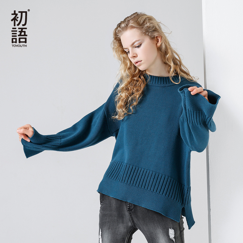 Toyouth Knitting Pullover Fashion Flare Sleeve Autumn Winter Sweater Women Tops Casual Crew Neck Jumper pull femme Pink Sweater sweater