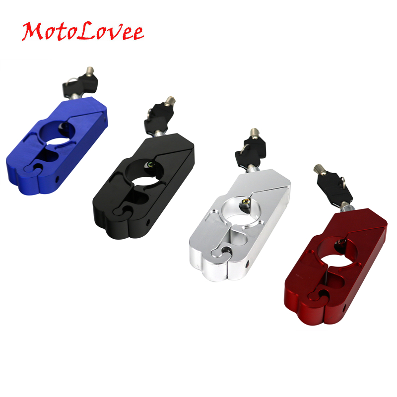 Motolovee CNC Motorcycle Handlebar Lock Brake Lever Throttle Grip Security Lock Scooter Handle Safety Lock Anti Theft Protection