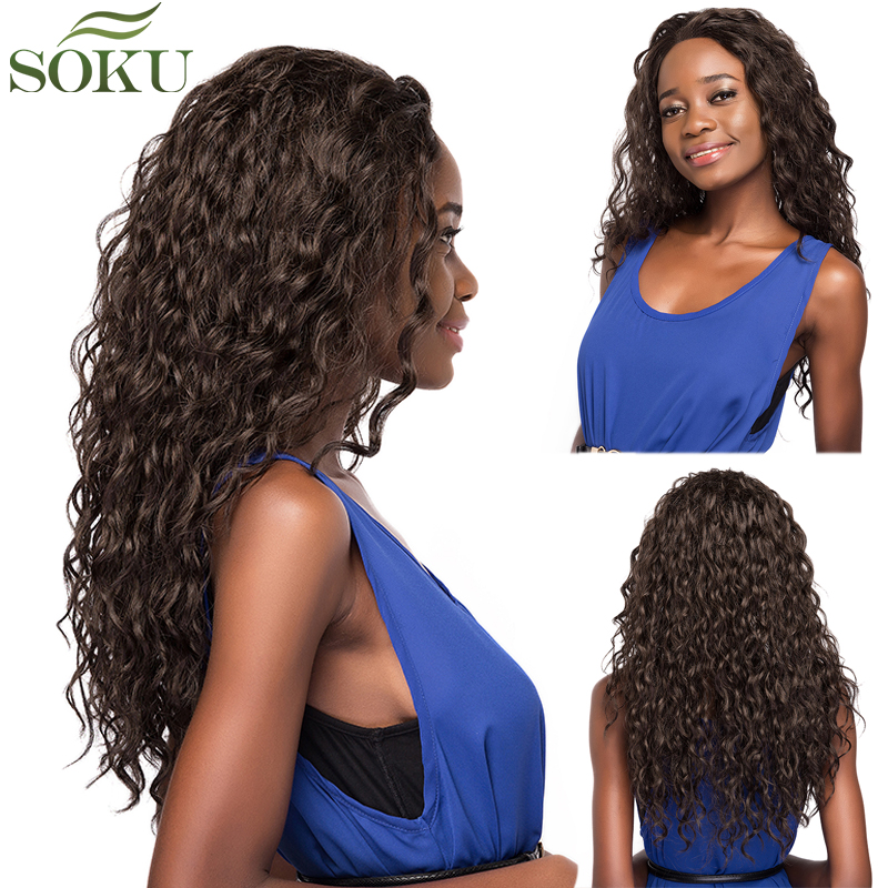 SOKU Wigs Baby-Hair Heat-Resistant Glueless Lace-Front Synthetic Black-Women Fiber Curly