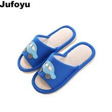 Фотография JUFOYU 2018 New Home Slippers Linen Cartoon Car Children