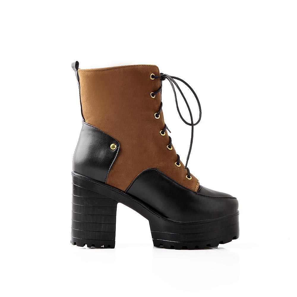 Kadın Pu kısa çizmeler Kalın Yüksek Topuk Ayak Bileği Bootie Lace Up Platformu Kış Moda Kadın Ayakkabı Siyah Kırmızı Sarı Drop Shipping