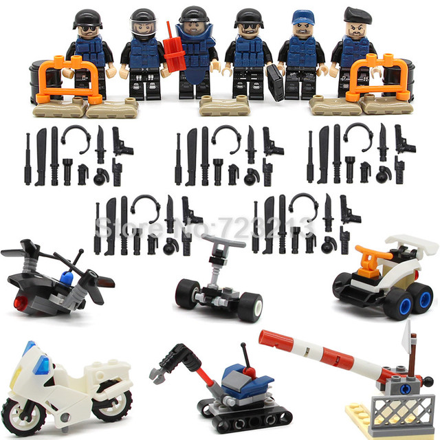 6pcs/lot SWAT Figure Set Modern Police UAV Motorcycle Weapon Gun Military Building Blocks Model Kits Bricks Toy