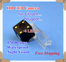 Factory selling, HD CCD with 4 LEDs Car Rear View Reverse back up Camera for Citroen C2 Elysee C5 CROSS DS3 DS5(China)