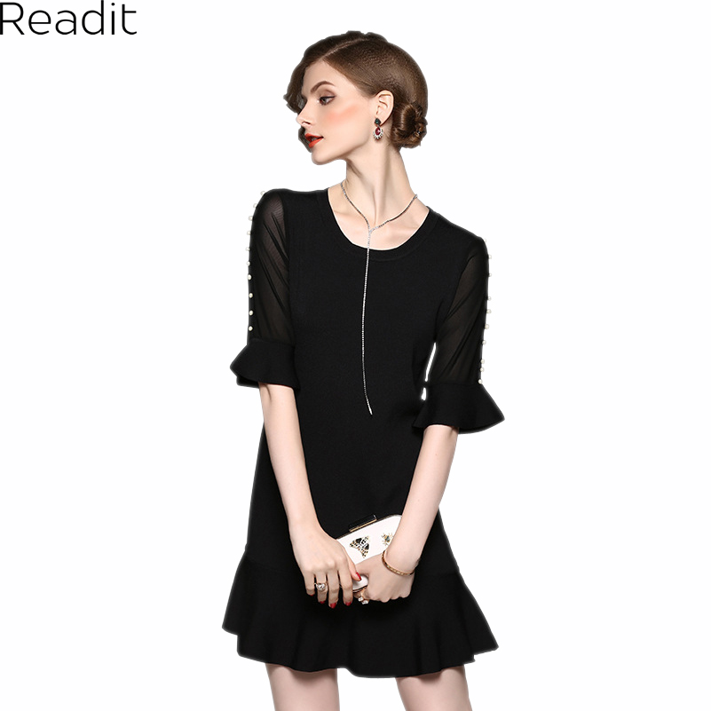 Readit Patchwork Dress 2017 Autumn Faux Pearl Beading Transparent Flare Sleeve Patchwork Knitted Dress Ruffled Bottom Dress D251 trumpet sleeve pearl beading scalloped dress
