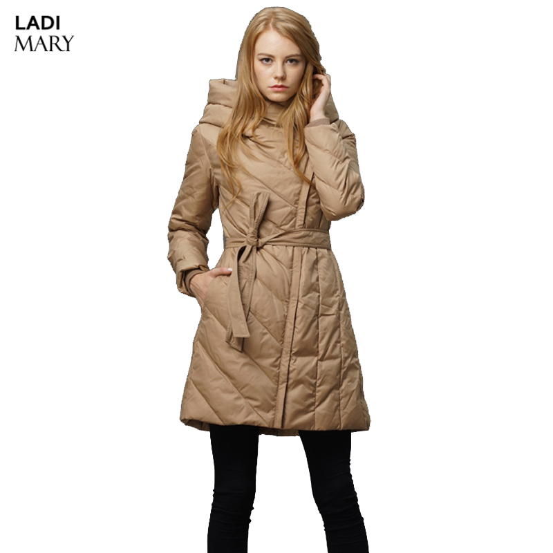 LADIMARY Women Down Jacket Winter Slim Solid Coat Female Down Clothing Parka Red Hooded Jackets Fashion Outwear Y14067
