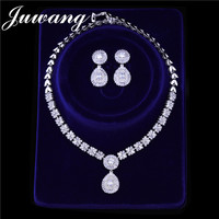 JUWANG Brand Luxury Wedding Jewelry Set For Women Dubai Silver Gold Color Indian Wedding Jewelry Sets Brides Jewellery Gift