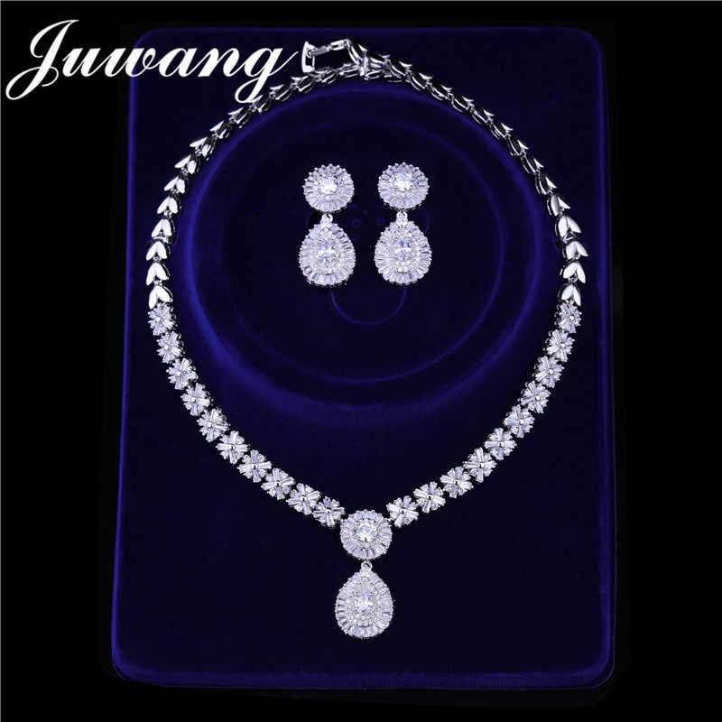 JUWANG бренд роскошный свадебный комплект ювелирных изделий для женщин Дубай Серебро Золото Цвет индийские свадебные комплекты ювелирных изделий невесты ювелирный подарок