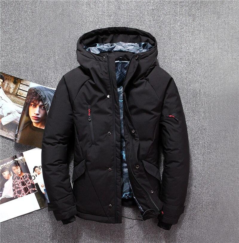 Veste d'hiver pour hommes gris rouge noir blanc mode élégant zipper canard doudoune hommes épaissir russie hiver manteau de neige marques - 4