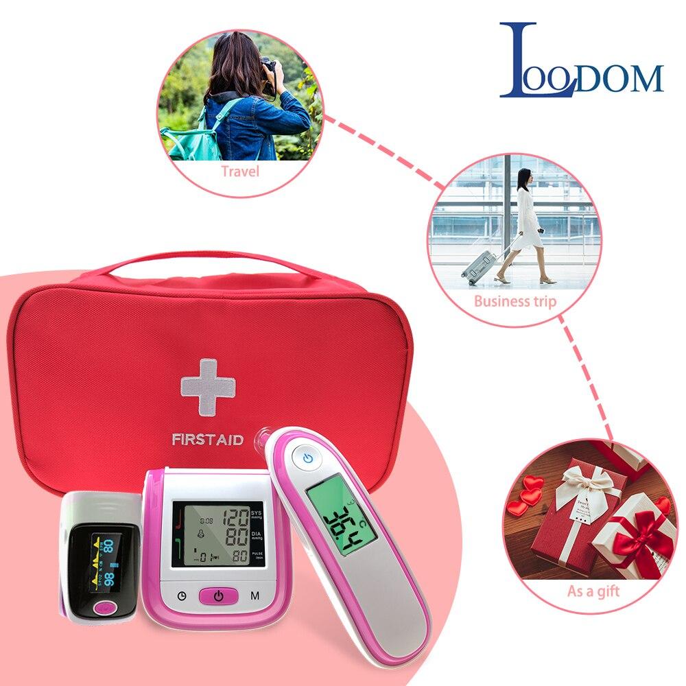 Loodom OLED Oxímetro de pulso Do Bebê Termômetro Thermometr Pulso Monitor de Pressão Arterial Pressão Arterial Oxímetro De Dedo saco do presente