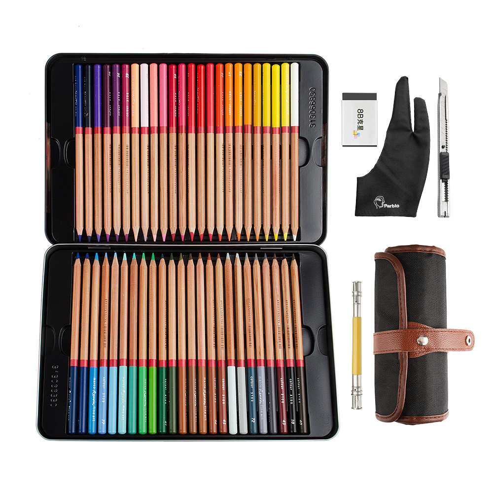 Marco 48 Colored Pencils Set Professional Color Pencil Iron Box For Coloring Drawing + Glove + Roller Pencil Bag marco 12 colors box black wood metallic color pencils lapis de cor professional drawing pencil for school supplies